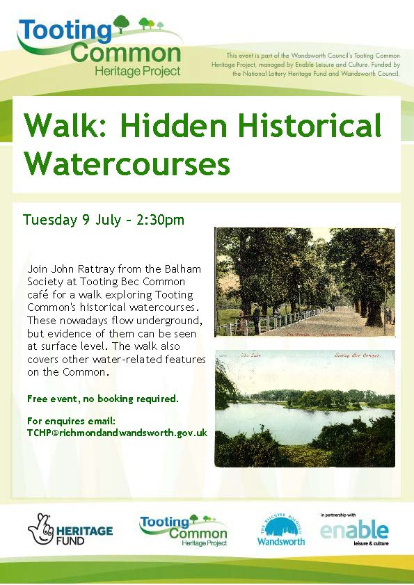 Tooting Common Heritage Poster for walk on July 9th 2019