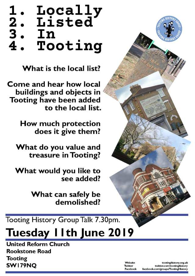 "Poster For June 2019 meeting ""Locally Listed In Tooting"""