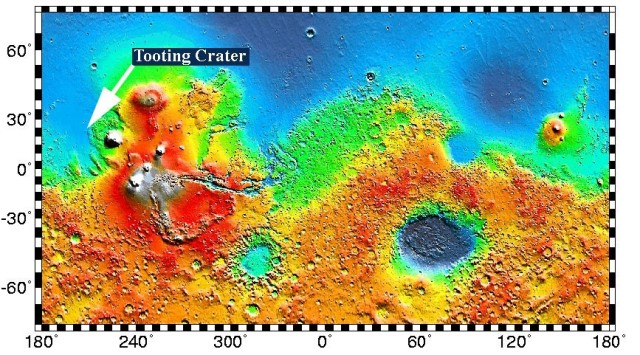 Map of part of Mars Surface showing Tooting Crater